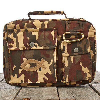 Camouflage with Fish Patch Cotton Twill Bible Cover. FREE DELIVERY