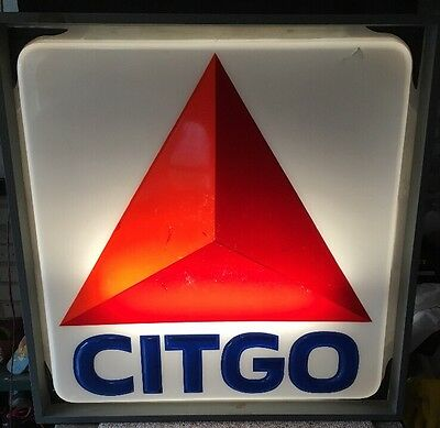 Vintage Citgo Gas Lighted Sign Embossed With Custom Frame