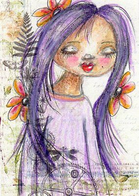 Aceo Original Drawing Girl with Flowers  Whimsical Art by FAiRyPiGGleS