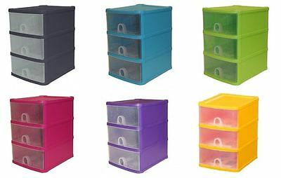 3 Drawer Plastic Tower Storage Unit A5 Small Handy Home Office Desktop