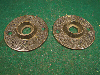 Pair Vintage Cast Brass Eastlake Door Knob Escutcheons  (8565)