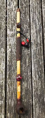Old Chinese Carved Opium Pipe Wood, Bamboo, Leather & Stones