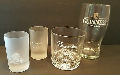 "Lot of 4 Bar Glasses, Canadian Club ""Whisky"", Jagermeister, Guinness Collectible"