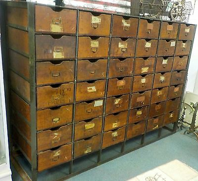 Vintage Industrial 42 Drawer Iron & Wood Cabinet/ Industrial Age /o.c. White Era