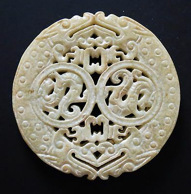 Beautiful Chinese Carved Jade Dragon Pendant Bead
