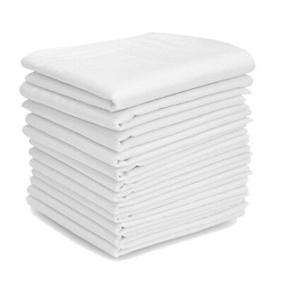 TOSKATOK® White 12 pack 100% Cotton Mens Handkerchiefs 44x44cm