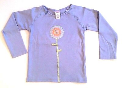 FLAW Gymboree Girls 5 Blue Flower & Sequins Long Sleeve T Shirt Top Unworn!