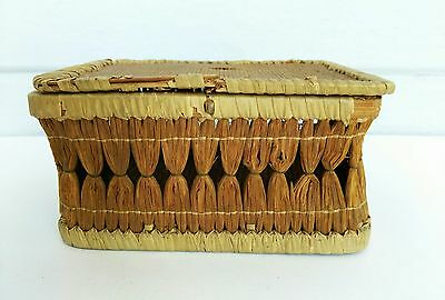 Antique Small Delicate Sewing Basket Very Old Small Hand Woven