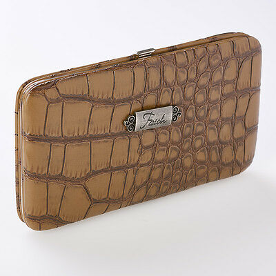 Faith Croc-Embossed Opera Wallet in Taupe. Free Delivery