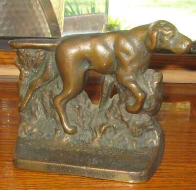 Antique Single Bronze Pointer Dog Bookend