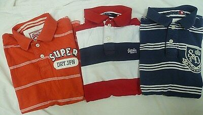Superdry  Striped Short Sleeve  Polo Shirts  X 3  Size Medium