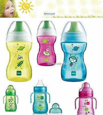 MAM Trainer Bottle Cup with Spout - Blue, Pink, Yellow, Anti Slip, BPA Free