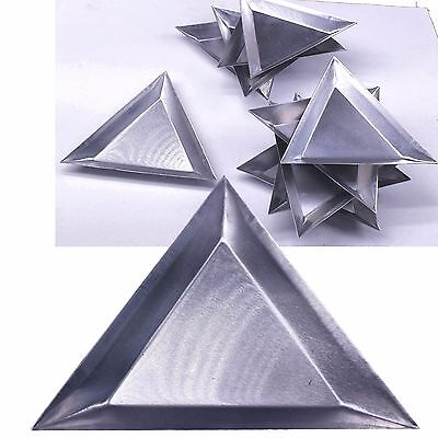 "10 pc Aluminum Triangle Trays Gemstones Beads Display Sorting Parts 3 1/4""x1/4"""