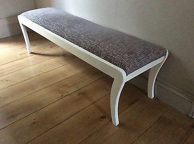 Long stool/ bench/window seat Edwardian, painted, reupholstered in Zinc fabric