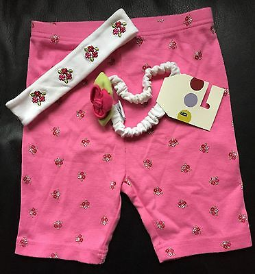 NWT GYMBOREE PINK FLORAL BIKE SHORTS & 2 HEADBANDS LARGE L 4 to 5 yrs VINTAGE