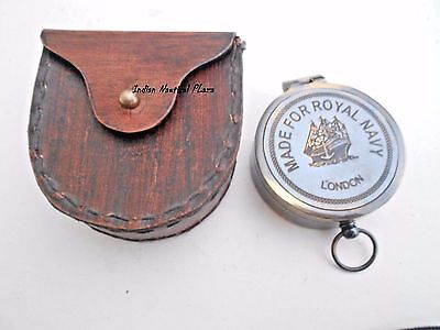 Brass Antique Made for royal navy London Vintage Collectible Compass with case