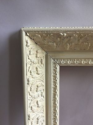 Antique Victorian picture frame, mirror frame carved wood painted
