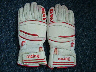Vintage Reusch Leather Racing Ski gloves. White and Red Leather. Sheepskin Lined