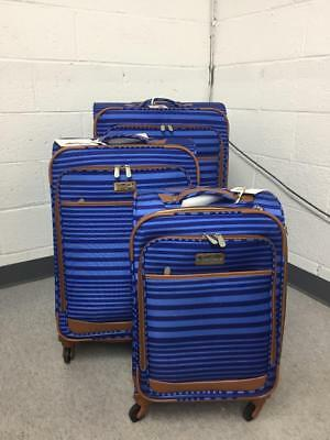 Jessica Simpson Breeze Softside Exp. Spinner Luggage, 3 Piece Set (Navy/Blue)