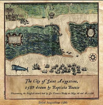 21 Boazio Map of St. Augustine 1589 vintage historic antique map painting print