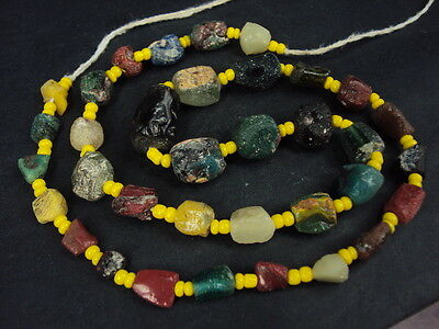 Ancient Fragment Glass Beads Strand Roman 200 BC  #14069