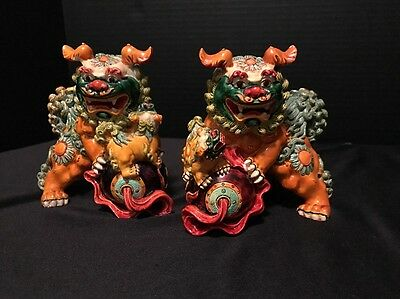 "Pair Foo Dogs Figurines  ~ 4.25"" Tall Ceramic ~ Set Of 2 ~ Guardian Lions"