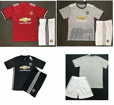 17/18 Top Quality Manchester United Soccer Jersey Set Shirt Shorts Kids Youths