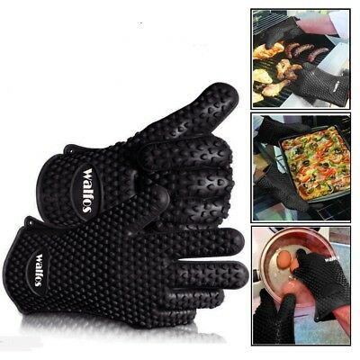 Silicone Kitchen Glove Cooking Mitts Grill Gloves Bbq Heat Resistant Oven Bbq