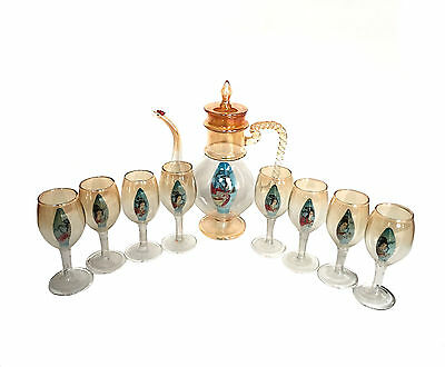CHINESE Blown Glass Tea Set Guanyin Inside Painted Box Glasses Teapot Rooster