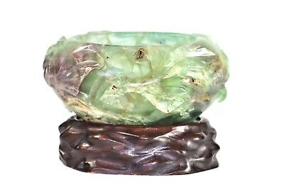 CHINESE Green & Purple Fluorite Brush Washer Bowl Lotus Carved Stand Scholar