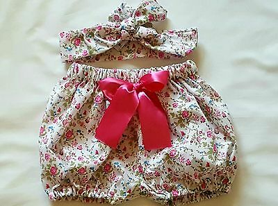 Beautiful Summer Floral Print Baby's Bloomer and headwrap set girls clothes New