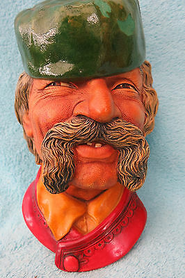 Vintage Bossons Montenegrin Chalkware Head Wall Plaque