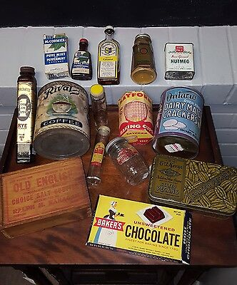 Lot of 15 Vintage Kitchen Spice Tins and Packaging Baker's McCormick Ann Page