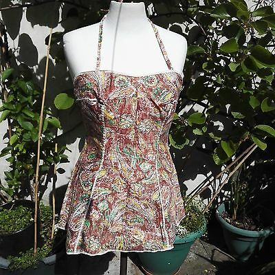 Vintage 1950's 2 - Piece Swim/Bathing Suit in browns + Yellow Abstract Print