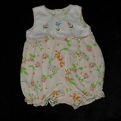 Sweet Vintage Baby Togs Girls Floral Embroidered Bubble Romper 6-9M Evc Ric Rac
