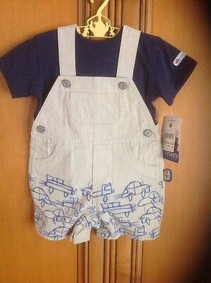 Carter's Kids 2 Piece Boys Size 9 Months Tee Shirt And Overalls