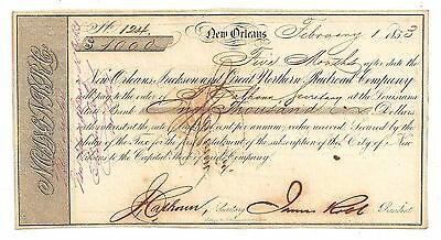 1853 New Orleans, Jackosn & Great Northern Railroad Co., LA $1000 Bond No.124
