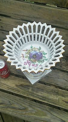 Antique Old French Porcelain Centerpiece Compote Corbeille Hand Painted Fruit LG