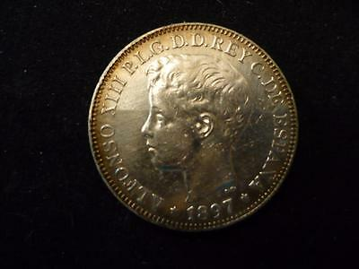 1897 Philippines Type Set One Peso Silver Coin   King Alfonso XIII