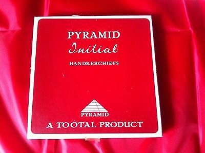 Box of Three Vintage Gentleman's Handkerchiefs Tootal Pyramid Initial W (B)