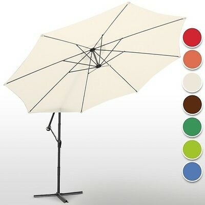 Cantilever Parasol with Hand Crank 3.5m Cream Great For Shade Beige Garden Patio