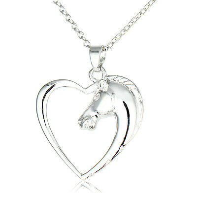 Fashion Silver Heart Horse Animal Pendant Necklace Women Men Jewelry Gifts Party