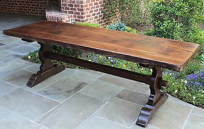 Antique ENGLISH Oak Farm Trestle Dining Library Table Refectory Pegged LARGE