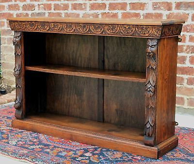 Antique French Oak GOTHIC Black Forest Hanging Wall Bookcase Display Shelf LARGE