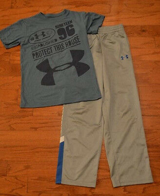 Boy's UNDER ARMOUR 2 Piece Set Pants T Shirt Gray Blue Size Youth Medium M
