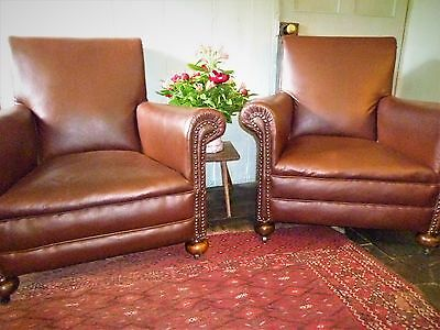 Pair of Art Deco Armchairs,Club Chairs 1920s / 1930's Antique Walnut vintage