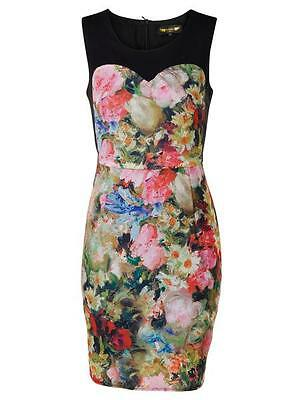 New Women Ladies Summer Floral Print Fully Lined Party Mini Dress Size S UK 8-10