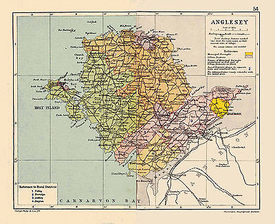 A3 Map of Anglesey, Wales.