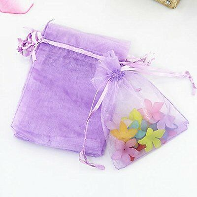 4X6'' Drawstring Organza Jewelry Pouch Bags, Purple