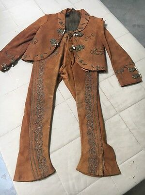 Antique Early 20th Century Child's Leather Charro Outfit Mexican
